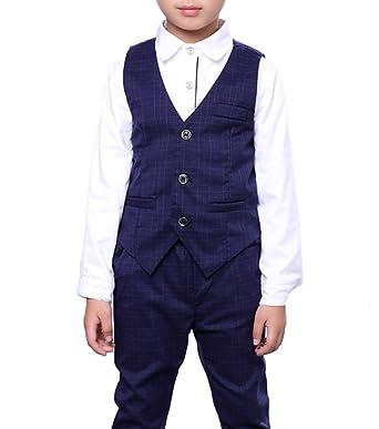 3102a9f66 Amazon.com  Boys Navy Blue Vest Set Vest and Pants Set 2 Pieces ...