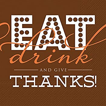Ideal Home Range 20 Count Cocktail Napkins, Eat Drink And Give Thanks
