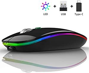 LED Wireless Mouse, Uiosmuph G12 Slim Rechargeable Wireless Silent Mouse, 2.4G Portable USB Optical Wireless Computer Mice with USB Receiver and Type C Adapter (Black)