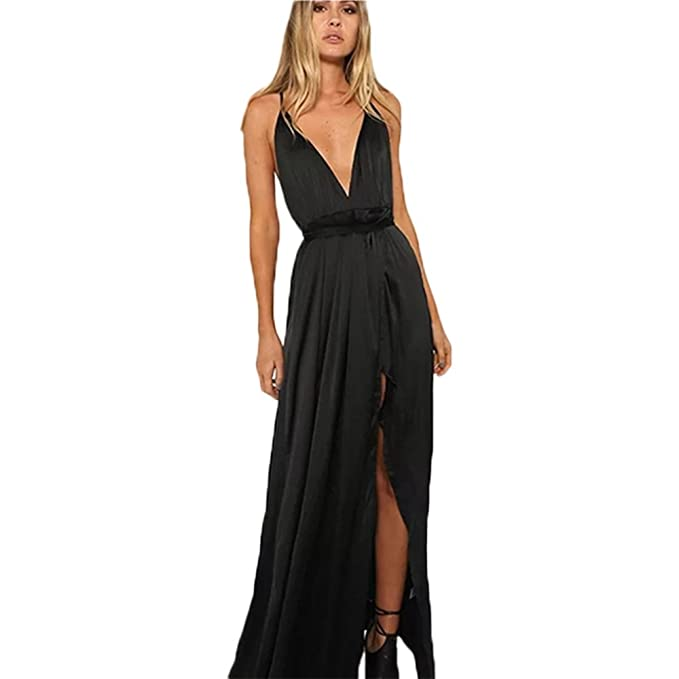 c045ed27be Image Unavailable. Image not available for. Color: Bangni high Split Maxi  Dress Solid Satin Sexy Evening Party Clubwear Spaghetti Strap Dresses