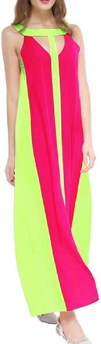 Lutratocro Womens Loose Cut Out Chiffon Contrast Color Sleeveless Swing Maxi Dresses