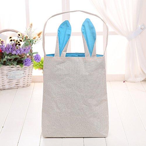 Kicode Sky Blue Ear 9.811.87.8 Inch Bunny Ear Easter Tote Bag Canvas Reusable Diy Carry Eggs Books