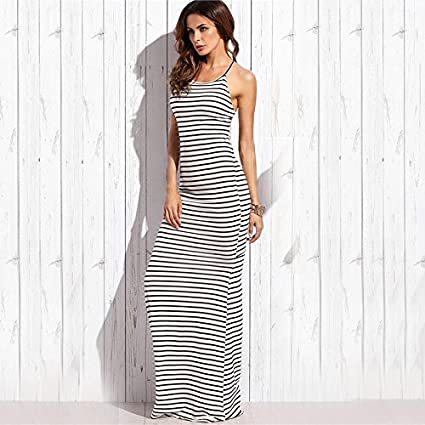 Carolina Dress Vestidos Largos De Verano Blancos Con Raya Casuales Sexy y Noche Elegantes VE0042 at Amazon Womens Clothing store: