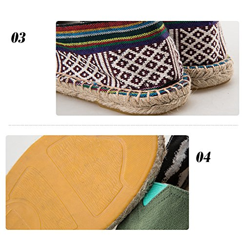 Highdas Unisex Adult Espadrilles Classic Stripe Canvas Flats Slip on Casual Shoes 23# ZXlLvJDG