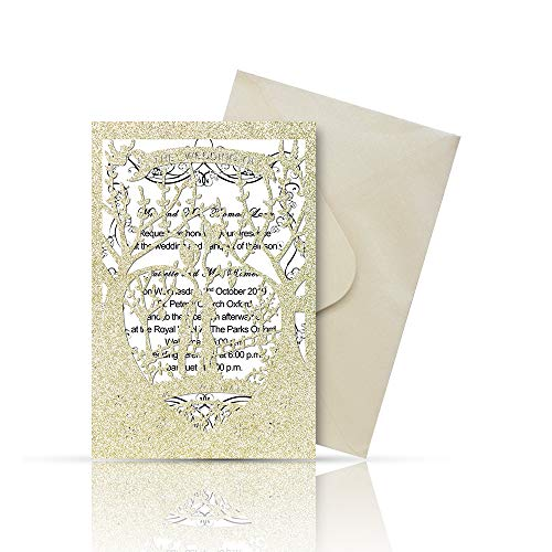 Laser Cut Printable Wedding Invitation Kits - 25pcs 4.7'' x 7'' Love Tree Wedding Invitations Cards with Printable Paper and Envelopes for Engagement Marriage Bridal Shower Anniversary(Glitter Gold)