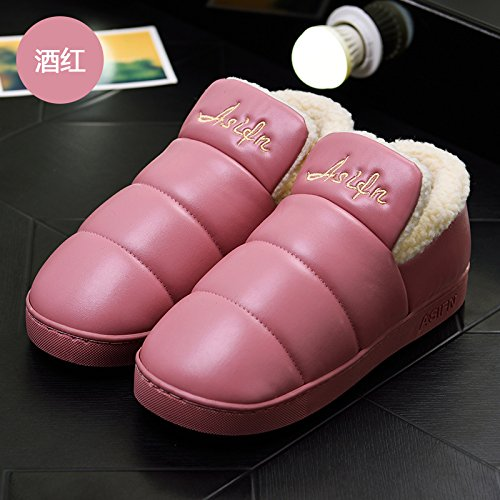 LaxBa Femmes Hommes chauds dhiver Chaussons peluche antiglisse intérieur Cotton-Padded Chaussures Slipper Bourgogne38-39 inscrit 37-38