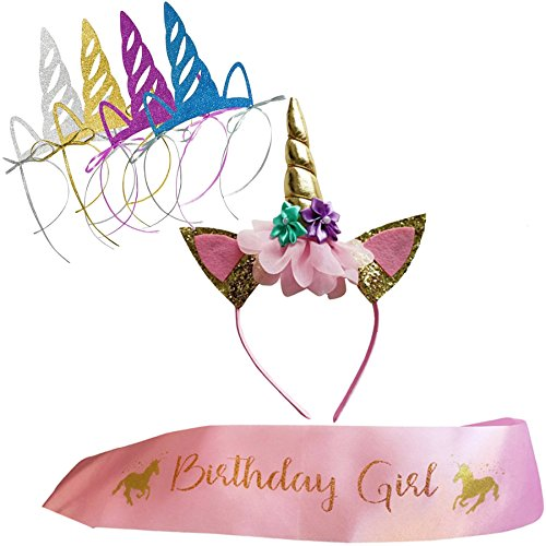Unicorn Birthday Girl Set of Gold Glitter Unicorn Headband and Pink Satin Sash for Girls, Happy Birthday Unicorn Party Supplies, Favors and Decorations - 2018 New.