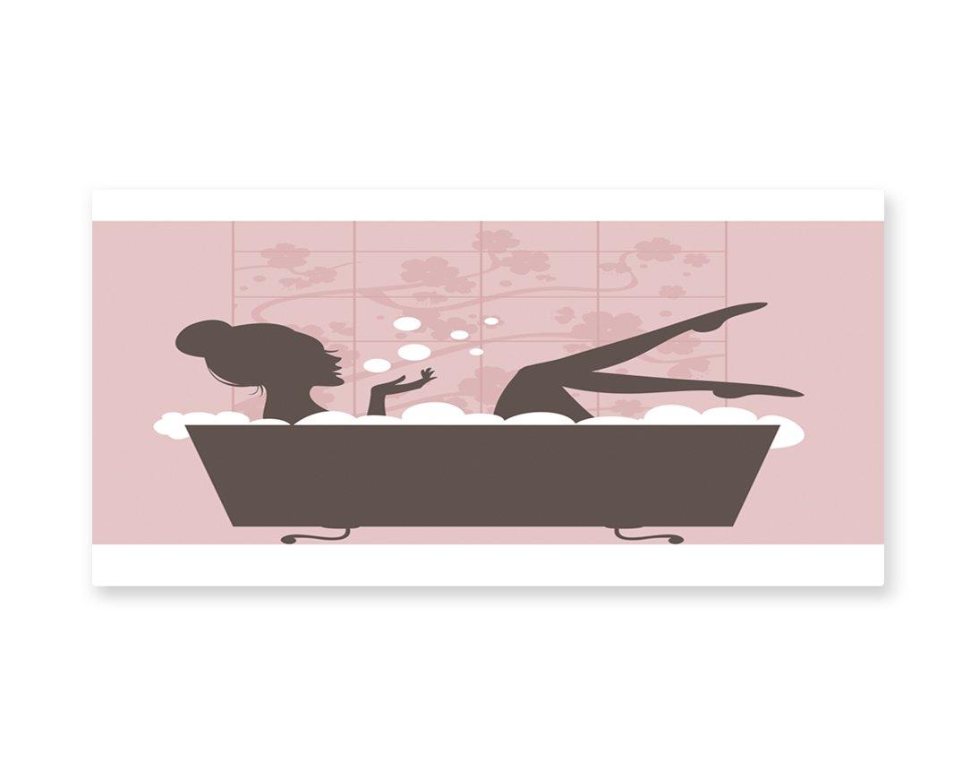 Lunarable Teens Girls Wall Art, Beautiful Woman in Bath Tub Spa Treatment Relaxing Concept Vintage Style, Gloss Aluminium Modern Metal Artwork for Wall Decor, 23.5 W X 11.6 L Inches, Pink Dark Grey
