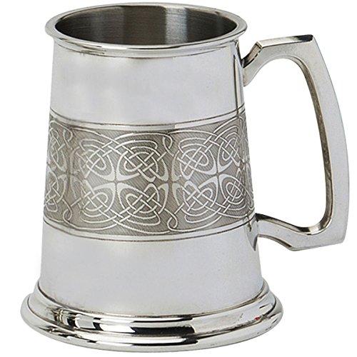 Pewter Tankard Handmade Embossed Celtic Band Wrap Ornate Handle Ideal Gift