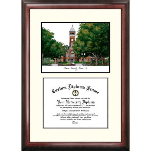 Clemson Tigers Framed Scholar Diploma Frame with Lithograph by Landmark Publishing