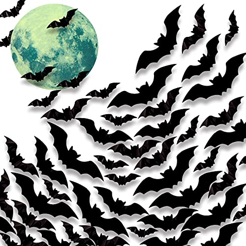 LOVEINUSA Bats Wall Decor, 97 PCS 3D Bat Stickers Set with Moon Glow Sticker Removable Bat Decoration Black Scary Bats for Indoor Outdoor Halloween Wall Decorations