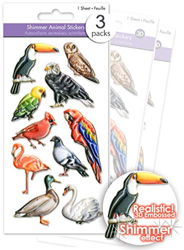 3 Pks Shimmer Effect Puffy Birds Stickers for Kids 3D Bird Stickers Craft Tropical Birds Stickers Scrapbook Embellishments Toucan Parrot Pigeon Owl Eagle Cardinal Flamingo Goose Swan Bulk Pack