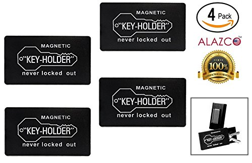 4pc ALAZCO 3 Plastic Hide-A-Key For Under Car Key-Holder Store Spare Key for Home Storage Office Truck Boat RV - Strong Magnetic Back