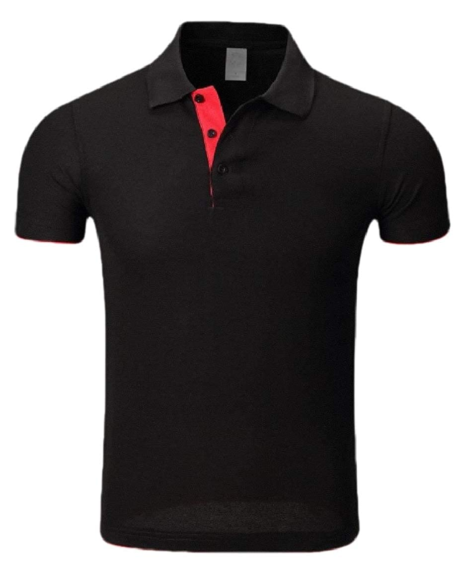 Keaac Men Slim Linen Short Sleeve Solid Color Summer Polo T Shirts