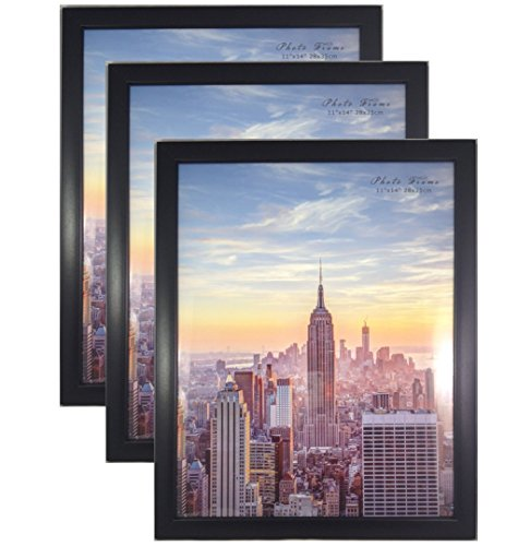- Frame Amo Contemporary Black 11x14 Wood Picture Photo Frame, Flat Border, 3-Pack