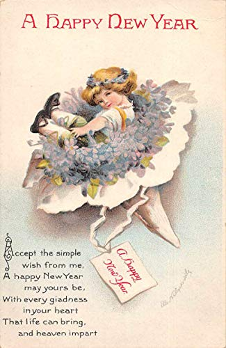 New Year Greetings Girl in Flower Bouquet Clapsaddle Signed Postcard J79395