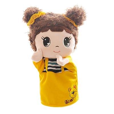 Black Temptation Cartoon Animals and Figures Marionnettes à la main Marionnettes en peluche (jaune Fille bonbon 25x11cm)