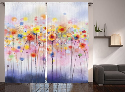 Ambesonne Watercolor Flower Decor Collection, Flowers in ...