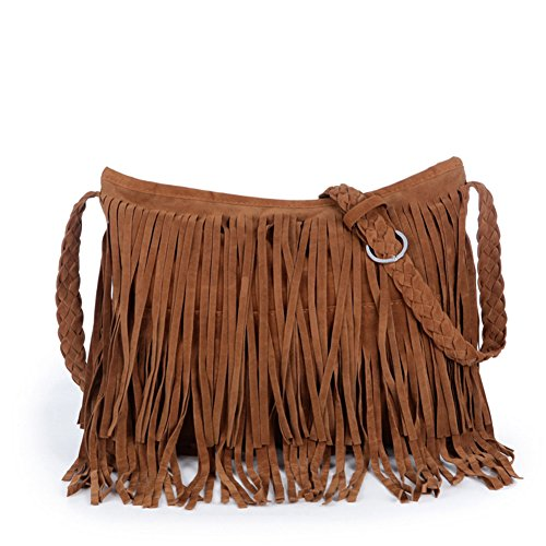 CC-US Women Faux Suede Leather Fringe Weave Tassel Crossbody Shoulder Bag Handbag
