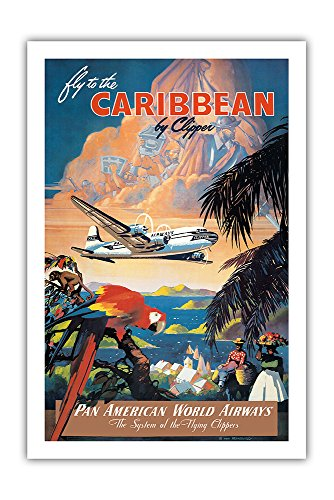 Fly To The Caribbean By Clipper   Pan American World Airways   Vintage Airline Travel Poster By Mark Von Arenburg C 1940S   Premium 290Gsm Gicl E Art Print   24In X 36In