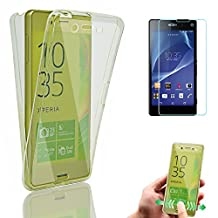 Z3 Cases, Xperia Z3 Case Cover, Bonice Full Body 360 Degree Front and Back 2pcs Protective Case TPU Gel Transparent Clear [Drop Protection] Cover for Sony Xperia Z3 - White