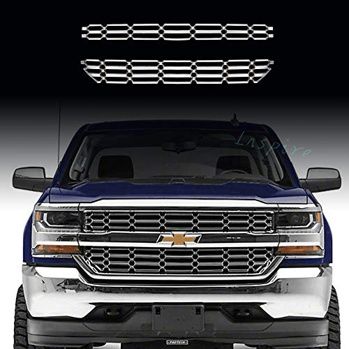 Fits 2016-18 Chevy Silverado 1500 CHROME Snap On Grille Overlay Grill Covers - Grill Overlay