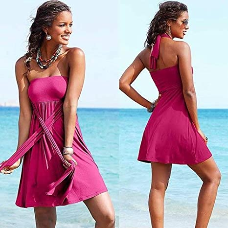 adcaff4121 Amazon.com : BeesClover Hot Multy Way Feminine Cover Ups Removable Padding  Convertible Plus Size Women Beach Dress S.M.L.XL Rose XL : Sports & Outdoors