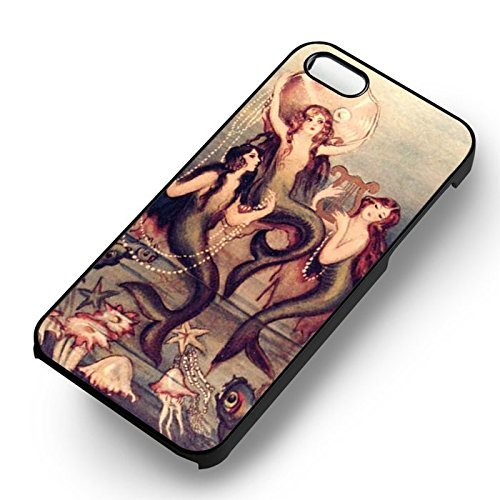 Vintage Mermaid Art for Cover Iphone 6 and Cover Iphone 6s Case (Black Hardplastic Case) W2S6KS