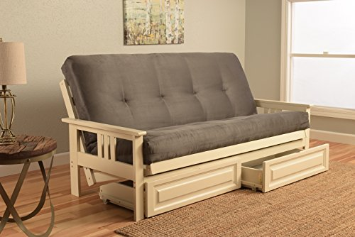 Style Futon Wooden Mission - Mission Style Wood Frame Antique White Futon with Storage Drawers Convertible Full Size Innerspring Mattress Cover-Use As Bed Sofa Sofabed Or Couch -Comfortable Furniture For Sleeping Lounging Sitting