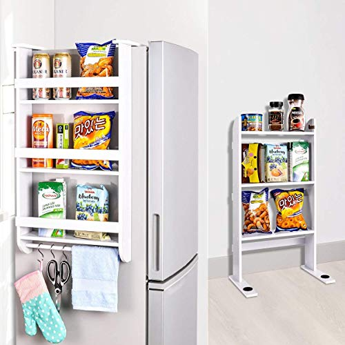 Rack Fridge Wood Organizer Refrigerator Side Storage Rack Paper Towel Holder, Rustproof Spice Jars Rack Kitchen Storage Wrap Rack Organizer Refrigerator Shelf Storage Adjustable Cabinet Door Mount ()