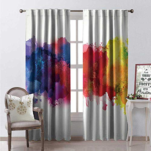 Hengshu Abstract Room Darkening Wide Curtains Vibrant Stains of Watercolor Paint Splatters Brushstrokes Dripping Liquid Art Decor Curtains by W84 x L108 Red Yellow Blue ()