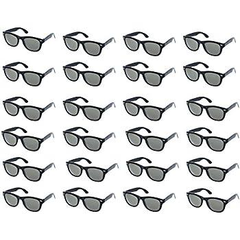 97169582ba Party Sunglasses - 24-Pack Vintage 80s Retro Trendy Style Black Party  Glasses