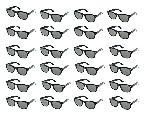 Party Sunglasses - 24-Pack Vintage Retro Style Black Party Glasses, Kids Birthday Party Favors, Perfect for Bachelorette or Bachelor Party (Black Favor)