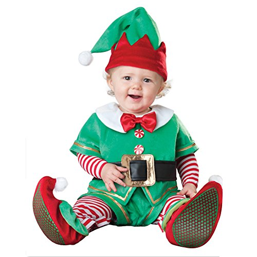 [QDHY Baby Costume Ideas For Christmas Baby's Santa's Elf Christmas Romper Play Costumes (80)] (Easy 80's Costume Ideas)
