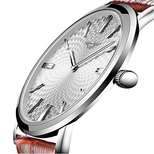 Men's Ultra Thin Business Casual Simple Design Waterproof Stainless Steel Quartz Watch with Leather Strap (Silver White)