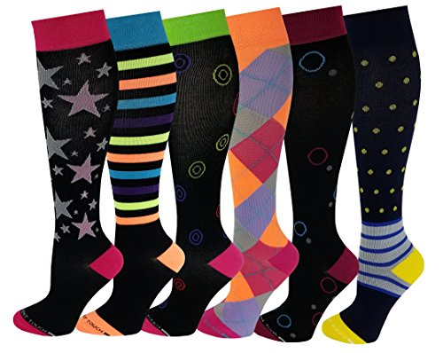 6 Pairs Pack Women Travelers , Anti-Fatigue , Graduated Compression Knee High Socks 9-11 (Assorted Printed #1) ()