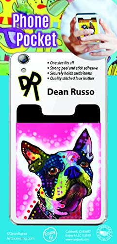 (Enjoy It Dean Russo Boston Terrier Phone Pocket - Peel and Stick Phone Wallet Credit Card Holder for Smartphones)