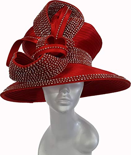 Fantastic Designer Couture Satin Ribbon Hat with Rows of Crystal Rhinestones (Red)