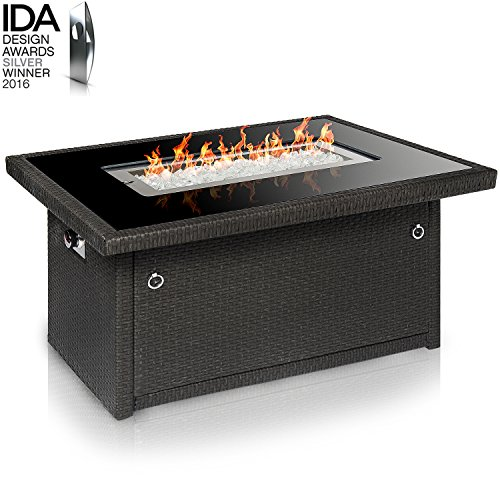 (Outland Living Series 401 Grey 44-Inch Outdoor Propane Gas Fire Pit Table, Black Tempered Tabletop w/Arctic Ice Glass Rocks and Resin Wicker Panels, Slate Grey/Rectangle)