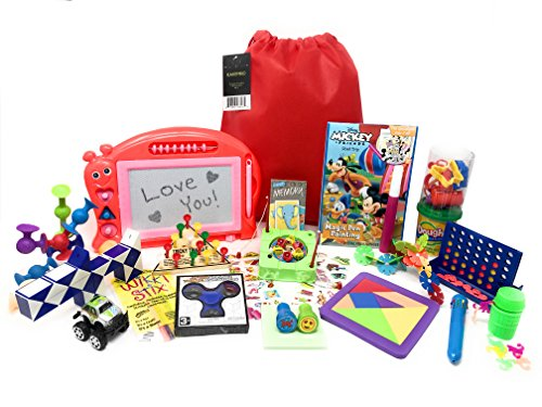 Premium Kids Travel Activity Bag. Full of Travel Games and Travel Toys. Great Road Trip and Airplane Activities for Kids. Includes 20 Premium Items Such as Connect 4 and Fidget Spinner. Ages 5+ by Kakembo