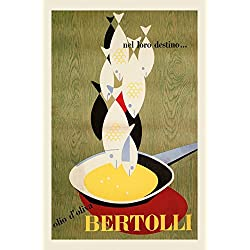 "Cook Chef Kitchen Cooking Fish Olive Oil Bertolli Food Italy Italia Italian Vintage Poster Repro 16"" X 22"" Image Size. We Have Other Sizes Available!"