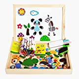 New-Hi Wooden Educational Toys, Kids Toddler Early Educational Magnetic Cute Animal Jigsaw Puzzle Drawing Board Puzzle Wooden Art Easel Games Toys Set Gifts(Forest Animals)
