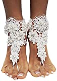 Bienvenu Summer Bridal Crochet Barefoot Sandals Lace Anklets Wedding Prom Party Bangles,Style_1