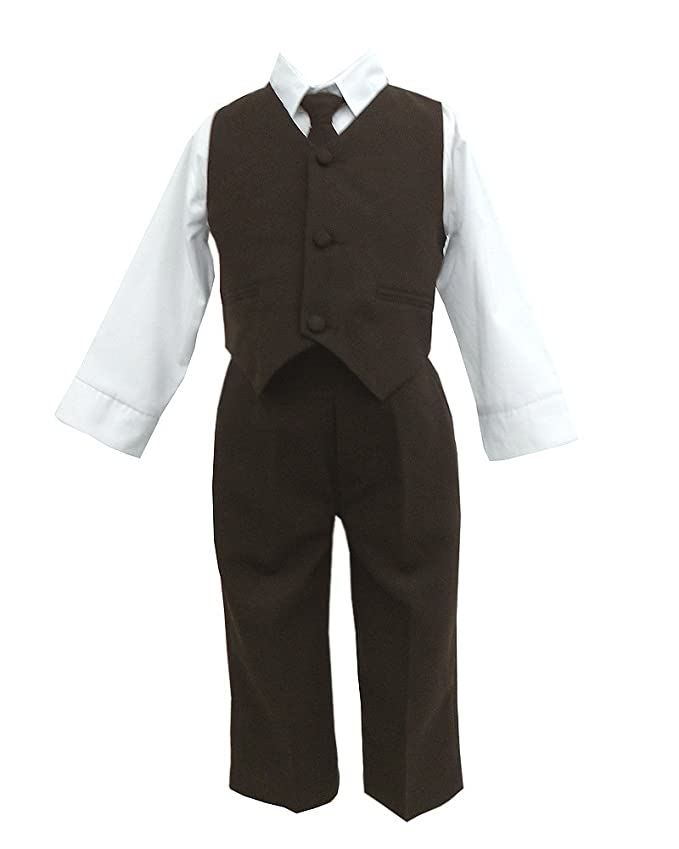 amazoncom brown u0026 white baby boys special occasion suit shirt tie vest pants infant and toddler suits clothing