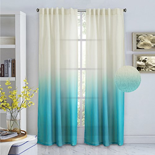 Turquoize Ombré Semi Sheer Curtains, Back Tab Top Linen Filmy Sheers, Light Filtering Drapes, Translucence, Decorative curtains, 2 Panels Pack. L84 by W52 Inch, Horizon Blue.