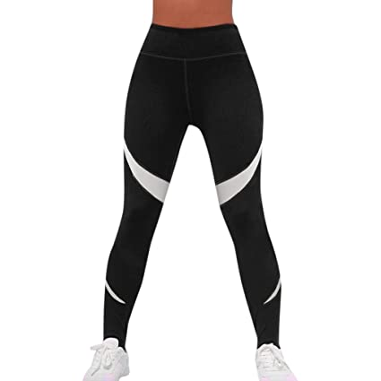 Amazon com: Women's High Waist Yoga Pants, AmyDong Geometric