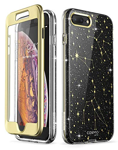 i-Blason Cosmo Glitter Clear Bumper Case for iPhone 8 Plus/iPhone 7 Plus (Black/Star)