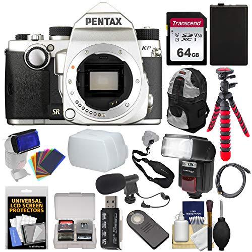 Pentax KP Wi-Fi Digital SLR Camera Body (Silver) with 64GB Card + Battery +Backpack + Tripod + Flash/LED Video Light + Microphone + ()