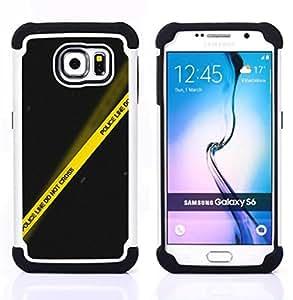 - police yellow black line crime scene/ H??brido 3in1 Deluxe Impreso duro Soft Alto Impacto caja de la armadura Defender - SHIMIN CAO - For Samsung Galaxy S6 G9200