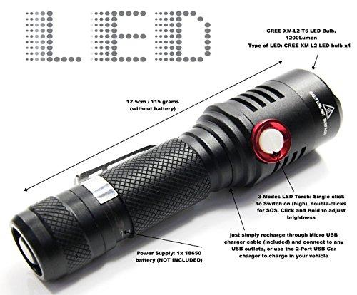 Rechargeable Flashlight Brightness Adjustable 1200Lumen